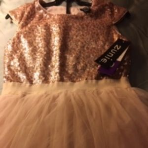 Zunie Girls Sequin/Tulle Holiday Dress Champagne